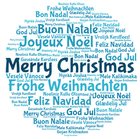 joyeux: Merry christmas tree word tag cloud Stock Photo