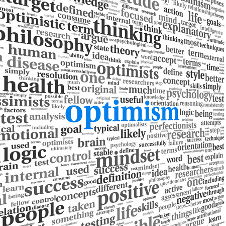 Optimism concept in word tag cloud photo