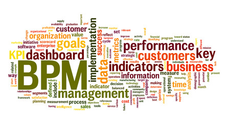 define: BPM business  performance management in word tag cloud on white