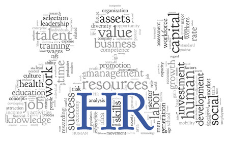 HR - human resources concept in tag cloud on white  Stockfoto
