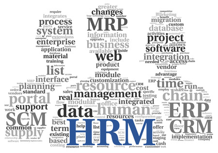 HRM Human resource management concept in tag cloudon white  photo