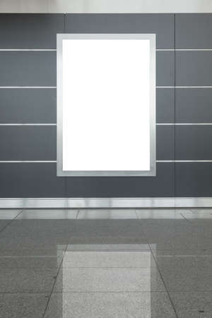 billboard blank: Blank billboard or poster located in hall Stock Photo