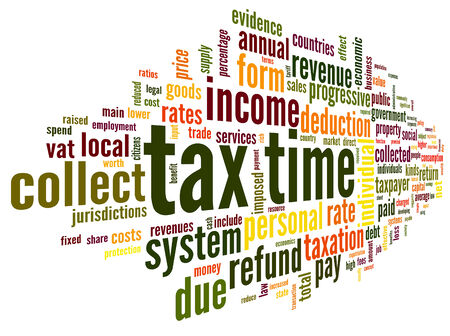 return: Tax time concept in word tag cloud on white