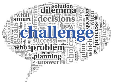 Challenge concept in word tag cloud of speking bubble shape