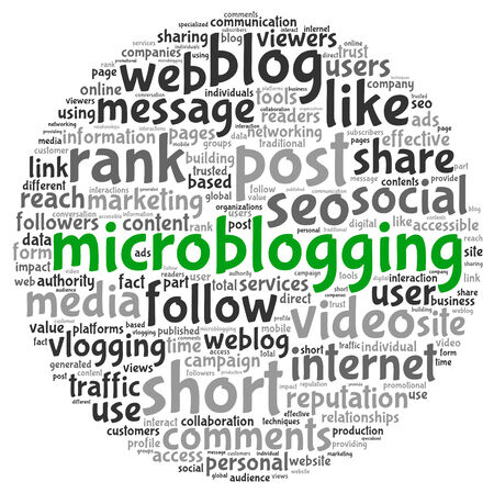 microblog: Microblog and social media concept in word tag cloud on white background Stock Photo