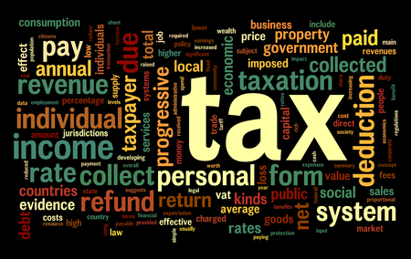 tax return: Tax concept in word tag cloud on black background Stock Photo