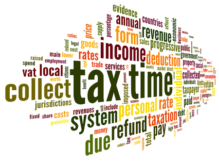 taxation: Tax time concept in word tag cloud on white background Stock Photo