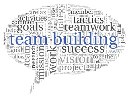 Team building concept in word tag cloud photo