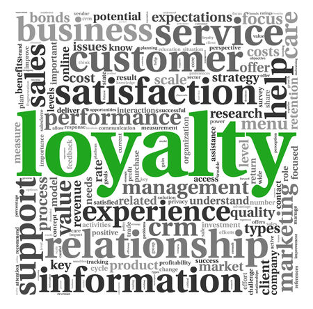 clound: Customer loyalty concept in word tag clound on white Stock Photo