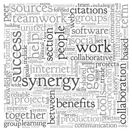synergy: Synergy and teamwork concept in word tag cloud