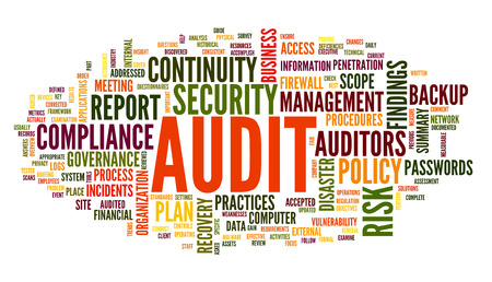 audit: Audit and compliance  in word tag cloud on white