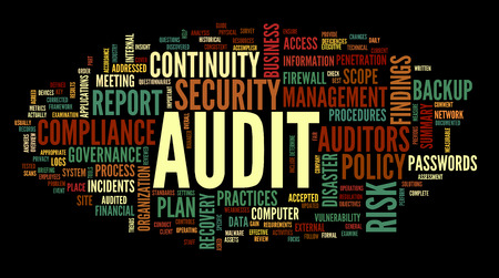 Audit en compliance in woord tag cloud op wit