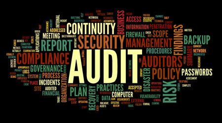 auditor�a: Auditor�a y cumplimiento en la palabra nube de etiquetas en blanco Foto de archivo