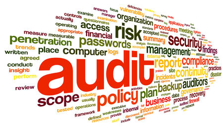 auditors: Audit and compliance  in word tag cloud on white
