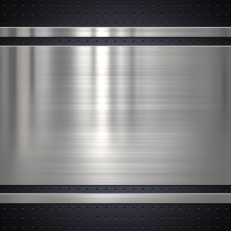 brushed: Metal plate on metal mesh background or texture Stock Photo