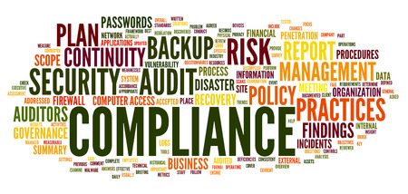 Compliance and audit in word tag cloud on white photo