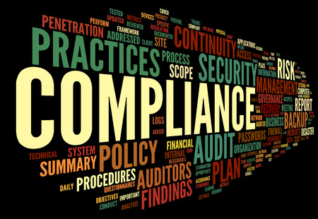 compliance: Compliance and audit in word tag cloud on black