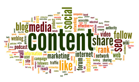 Content and Social media concept in word tag cloud on white background photo