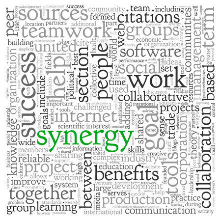 Synergy and teamwork concept in word tag cloud photo