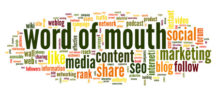 Word of mouth in social media in word tag cloud on white background photo