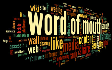 Word of mouth marketing in word tag cloud on white background Stock Photo - 27984199