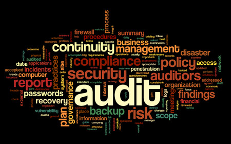 disaster recovery: Audit and compliance  in word tag cloud on white