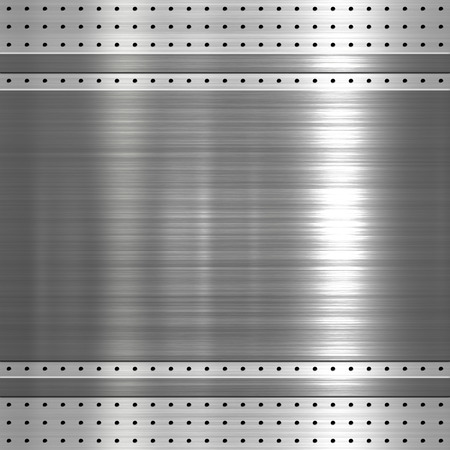 Metal plate on metal mesh background or texture photo