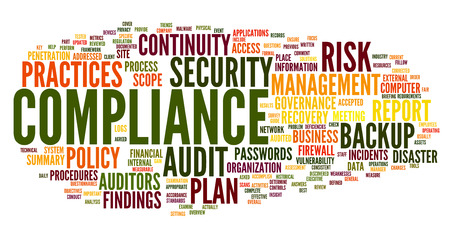 Compliance and audit in word tag cloud on white Banco de Imagens