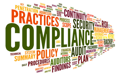 Compliance and audit in word tag cloud on white Stock Photo