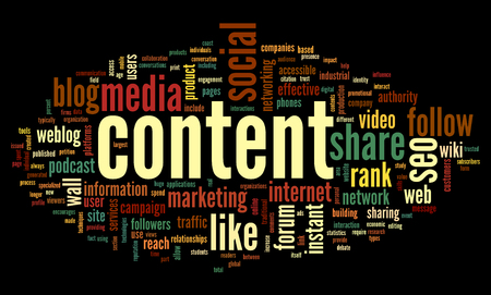 Content and Social media concept in word tag cloud on black background photo