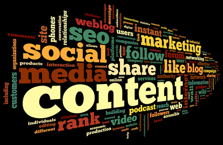 advertising network: Content and Social media concept in word tag cloud on black background Stock Photo
