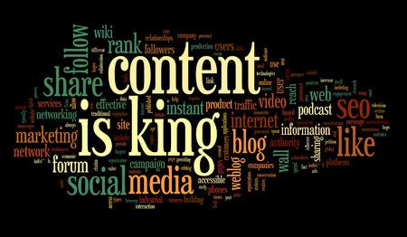 rey: El contenido es rey concepto de palabra nube sobre fondo negro Foto de archivo