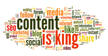 Content is king concept in word tag cloud on white background