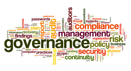 Governance and compliance in word tag cloud on white