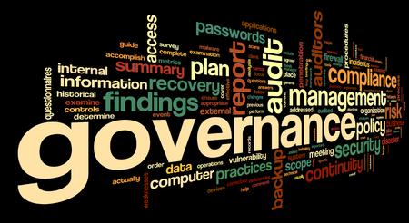 Governance and compliance in word tag cloud on black background photo