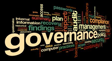 governance: Governance en compliance in woord tag cloud op een zwarte achtergrond