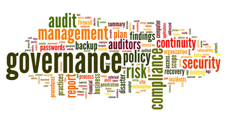 auditors: Governance and compliance in word tag cloud on white