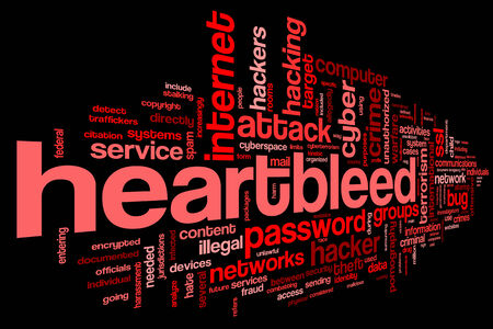 vulnerability: Heartbleed attack concept in word tag cloud isolated on black background