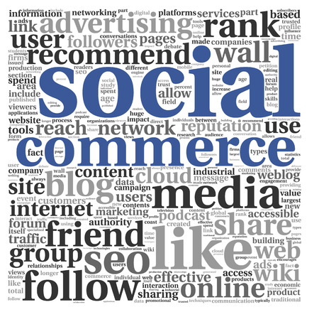 Social media commerce concept in word tag cloud on white background photo