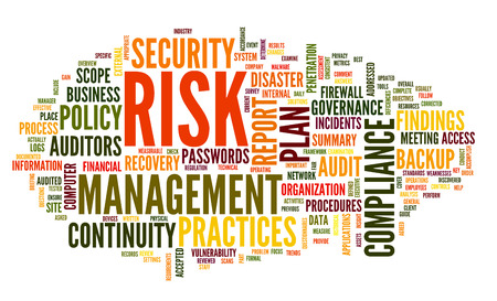 Risk and compliance in word tag cloud on white photo