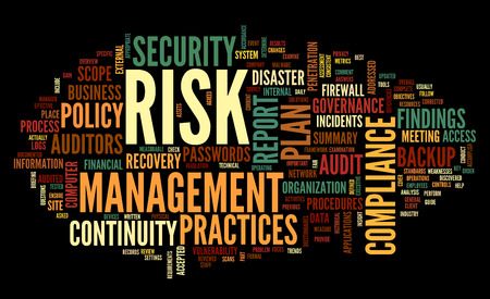 Risk and compliance in word tag cloud on black photo