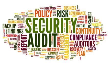 auditoría: Auditoría de seguridad en la palabra nube de etiquetas en blanco