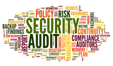 Security audit  in word tag cloud on white photo