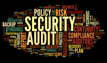disaster recovery: Security audit  in word tag cloud on black Stock Photo
