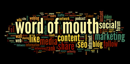 Word of mouth in social media in word tag cloud on black background photo