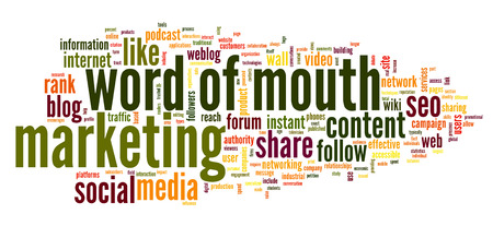 word of mouth: Word of mouth in social media in word tag cloud on white background Stock Photo