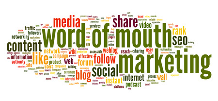 Word of mouth in social media in word tag cloud on white background Stock Photo