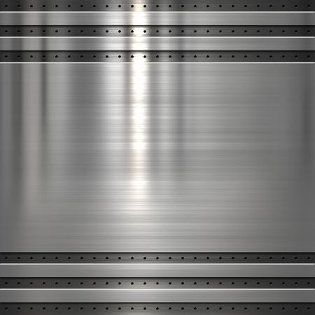 Metal plate on metal mesh Stock Photo