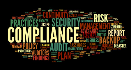 Compliance and audit in word tag cloud on black photo