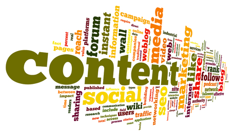 Content and Social media concept in word tag cloud on white